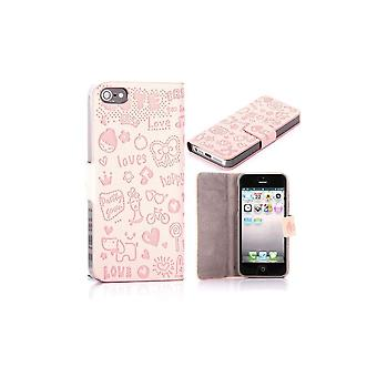 Pink Light Cover Magnetic Horizontal Opening Cartoon Pattern For IPhone 5