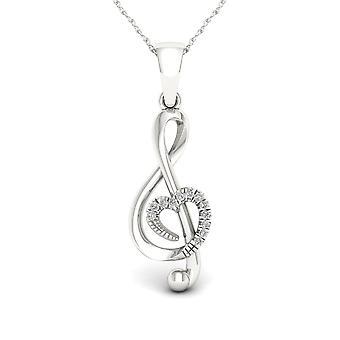 Igi gecertificeerd s925 sterling zilver 0.03ct tdw diamant treble clef ketting