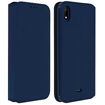 Classic Edition stand caz cu slot pentru card pentru Wiko Y50-albastru închis