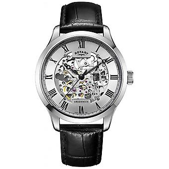 Roterende Mens skelet automatische Leather GS02940/06 Watch
