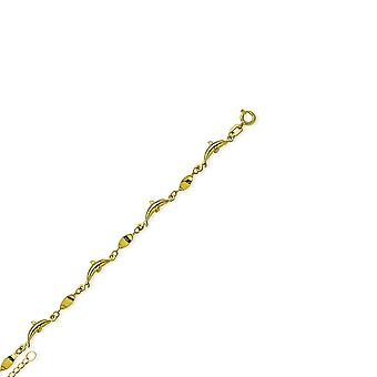 14k Yellow Gold Adjustable Dolphins With Twist 10 Inch Jewelry Gifts for Women - 2.6 Grams
