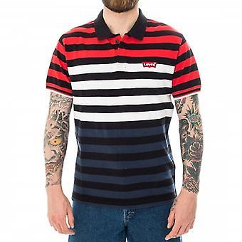 Levi's Modern Housemark Polo Red Navy White Stripe T-Shirt 69948 0015