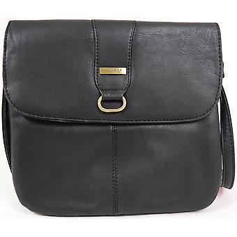 Ladies / Womens Faux Leather Practical Cross Body / Shoulder Bag  - Black