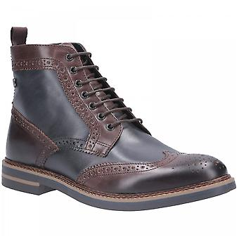 Base London Brown/navy Leather Banner Burnished Lace Up Brogue Boots