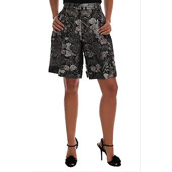 Dolce & Gabbana Gray Floral Brocade High Waist Shorts