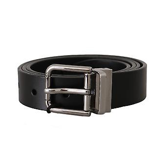 دولتشي وغابانا الأسود حزام مشبك الفضة الجلدية