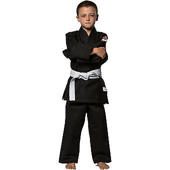 柔術の各地の富士子供黒 Gi (単一織り)