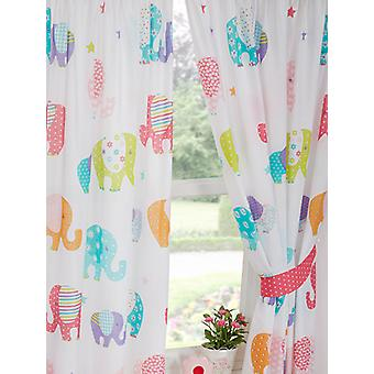 Patchwork Elephant Lined Curtains