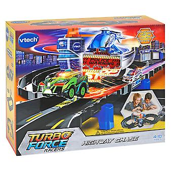 Vtech Turbo Force Racers Highway Chase 8 Piece Track Set Police Themed Playset