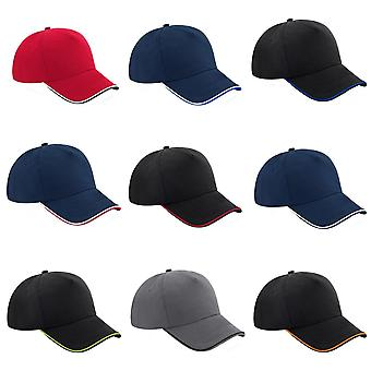 Beechfield Adults Unisex Authentic 5 Panel Piped Peak Cap