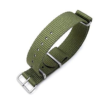 Strapcode n.a.t.o watch strap miltat 21mm or 24mm g10 military watch strap ballistic nylon armband, brushed - forest green