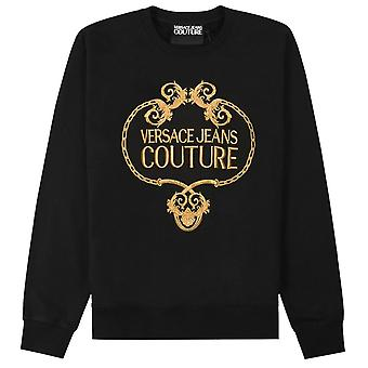 Versace Jeans Couture Gold Embroidered Wreath Logo Sweatshirt