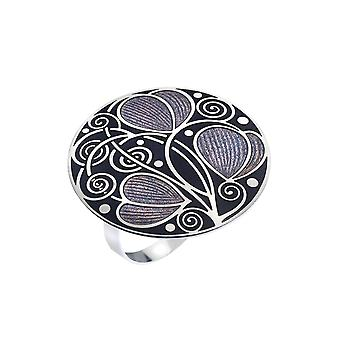 Mackintosh Leaves and Coils Enamel Scarf Ring Gift Boxed - Purple