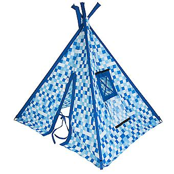 Gotowy Steady Bed Dzieci & s Piksele Blue Print Indoor Garden Playroom Namiot Teepee Wigwam