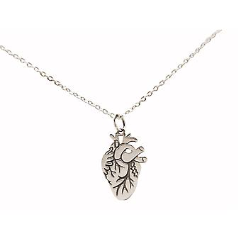 Necklace Anatomical heart: doctor, researcher, organic 925 silver, gold plated, rose