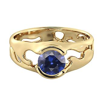 1.00 ctw Blue Sapphire Ring 14K Yellow Gold Unique Solitaire Designer