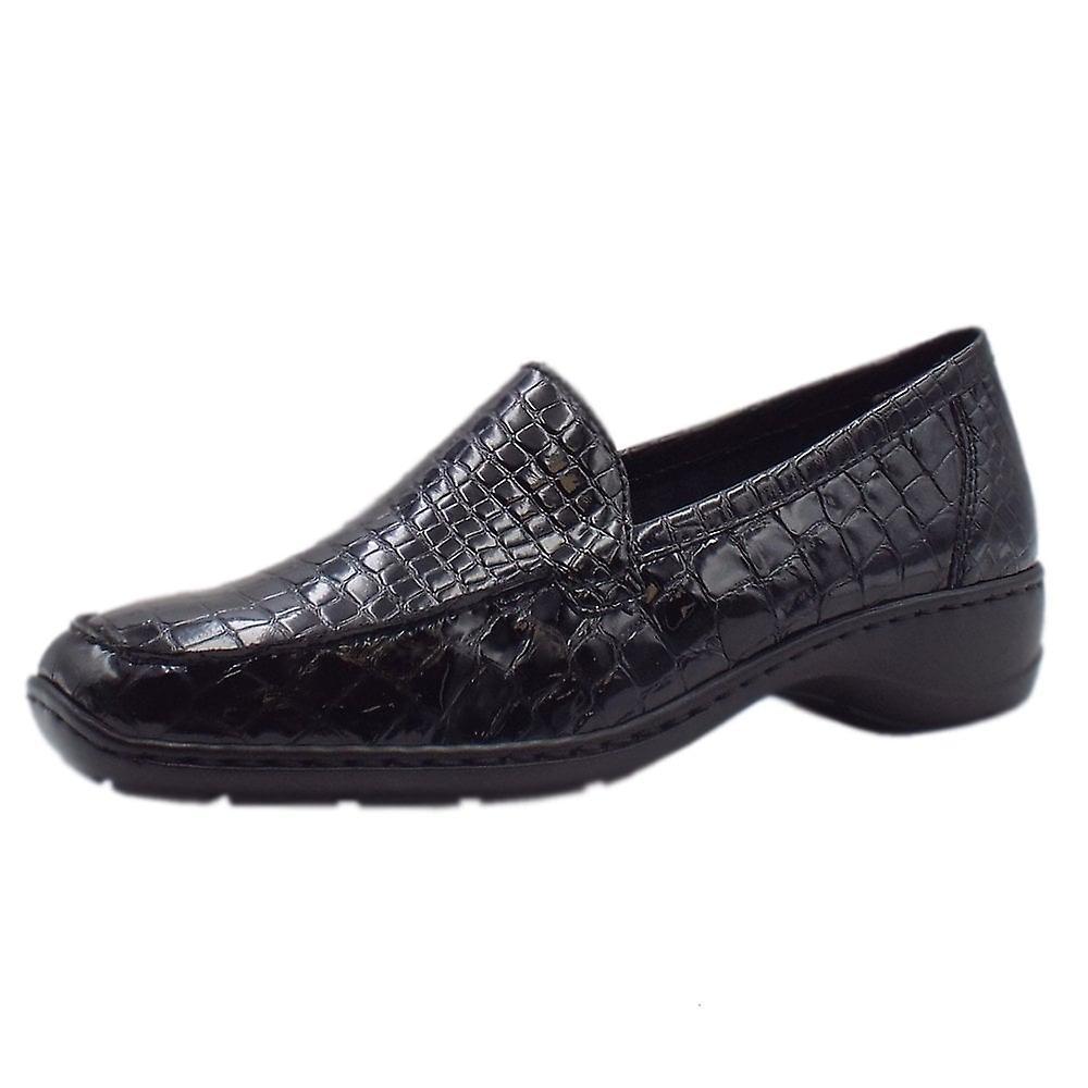 Rieker 583a0-00 Wonder Slip On Patent Shoes In Black Croc BKLck