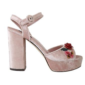 Dolce & Gabbana Pink Velvet Crystal Ankle Sandals -- LA49814000