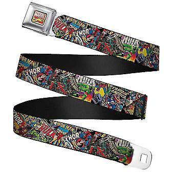 Marvel Comic Books Stacked Webbing Seatbelt Buckle Belt
