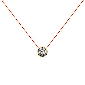 Choker Flower Cluster 18K Gold and Diamonds, on Thread - Yellow Gold, NeonOrange