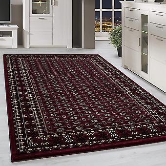 Klassik Orient Teppich Bordüre Traditionelles Muster Wohnzimmerteppich Rot Beige