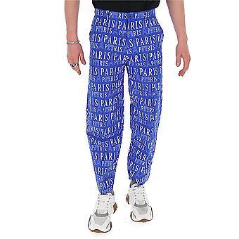 Balenciaga 595288tgl644640 Men's Blue Cotton Pants