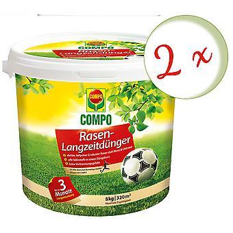 Sparset: 2 x COMPO Rasen-Langzeitdünger, 8 kg
