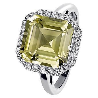 Jacques Lemans - Silver ring with Lemon Quartz - SE-R104B58 - RW: 58