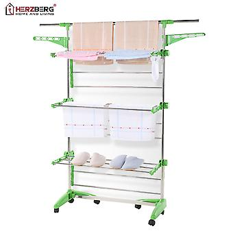 Herzberg HG-5015; Moving Clothes Rack Green