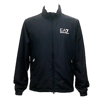 EA7 by Emporio Armani Polyester Thin Zip Up Black Jacket