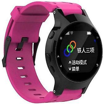 Horlogeband gemaakt door strapsco voor garmin voorloper 225 siliconen horlogeband roze met matzwarte gesp