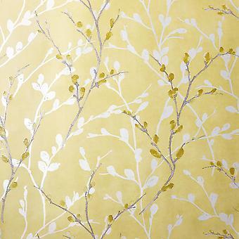 Glitter Willow Wallpaper Ochre Grey White Trees Leaves Shimmer Embossed Arthouse