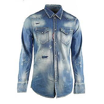 חולצת ג'ינס כחול מערבי במצוקה Dsquared2 קלאסי