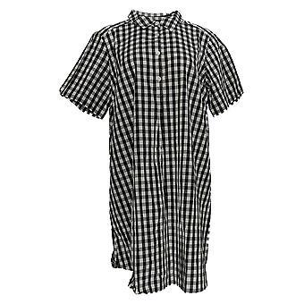 Joan Rivers Petite Robe Bouton à manches courtes Gingham Noir A304457