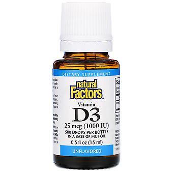 Natural Factors, Vitamin D3 Drops, Unflavored, 25 mcg (1,000 IU), 0.5 fl oz (15