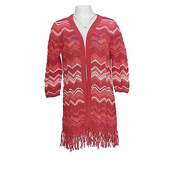 Isaac Mizrahi Mujer's Suéter Chevron Punto Cardigan V-Cuello Rosa A306374