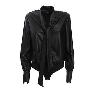 Pinko 1g150fy6bfz99 Kvinder's Sort Nylon Bodysuit