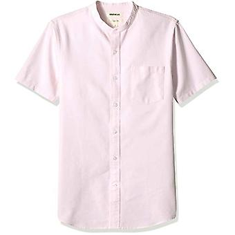 Goodthreads Men's Slim-Fit Short-Sleeve Band-Collar Oxford Shirt, -pink, Large