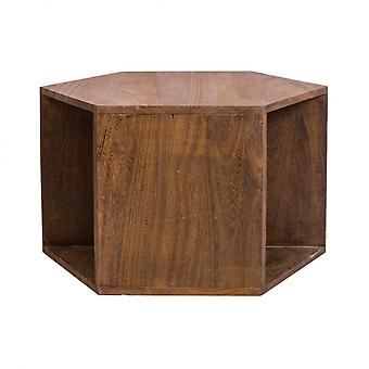 Rebecca Furniture Hexagonal Table Low Wood Modern Brown 41x60x60