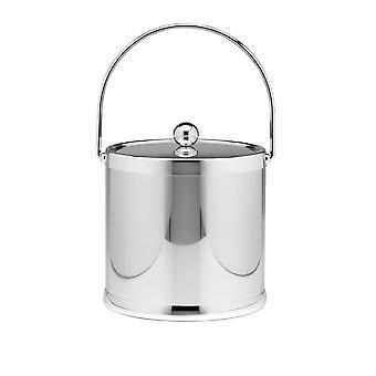 Polished Chrome 3 Qt Ice Bucket W/ Bale Handle & Metal Cover