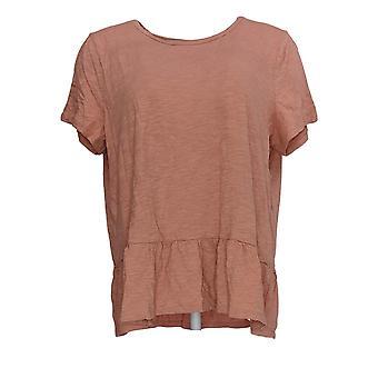 Denim & Co. Women's Regular Top Jersey Knit W/ Peplum Pink A379059