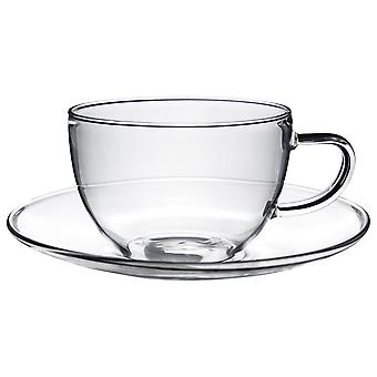 Clear Glass Cappuccino / Thee / Coffee Cup & Saucer - 260ml (9.1oz) - Pak van 1