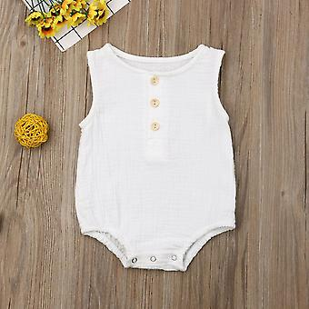 Newborn Cotton Linen Romper Baby Boy Girl Bez rękawów Stałe Niemowlę Maluch