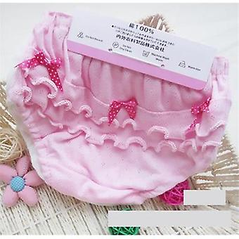 Baby Cotton Wood Ear Bow Pink And White Underwear 0-2 Years Old, Newborn Baby