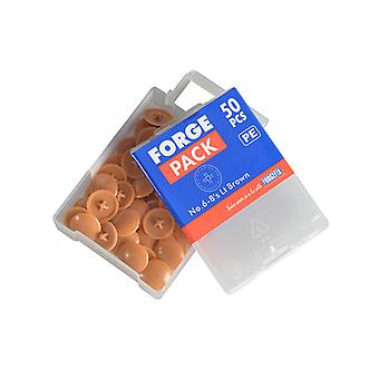 Forgefix Pozi Cover Cap Light Brown No.6-8 Forge Pack 50 FORFPPCC4
