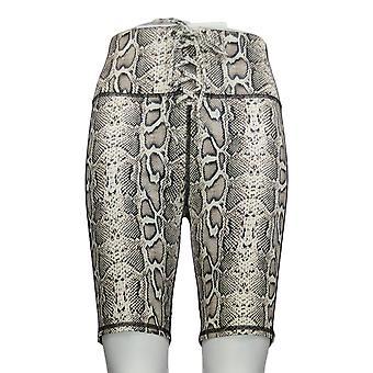 WVVY Women's Shorts Power Lace-Up Snake Skin Printed Bike Beige 698-673
