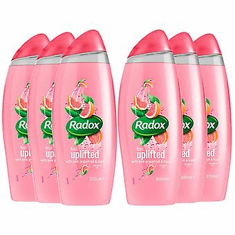 Radox Shower Gel, Feel Uplifted With Pink Grapefruit and Basil, 6 Pack, 500ml