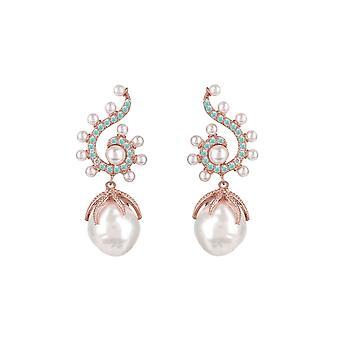 Pendientes colgantes de piedras preciosas de perlas barrocas Poseidón Aqua Rosegold