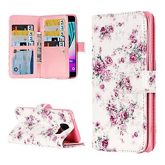 For Galaxy A3 (2016) / A310 Rose Pattern Horizontal Flip Leather Case with 9 Card Slots & Wallet & Holder