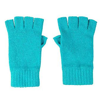 Johnstons of Elgin Fingerless Gloves - Turquoise